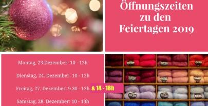 Öffnungszeiten zu den Feiertagen 2019/20