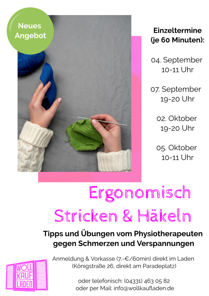 """Veranstaltungsplakat zum Kurs """"ergonomisch stricken und Häkeln"""" im Wollkaufladen Rendsburg"""
